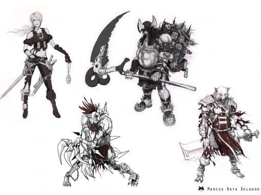 Diseños personajes mundo fantasía/medieval