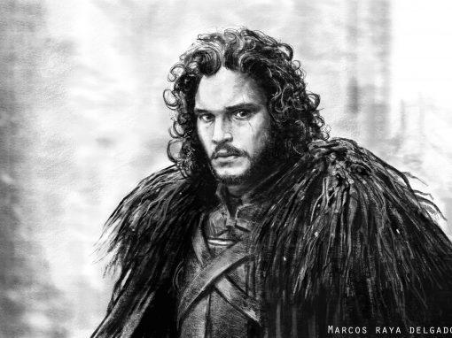 Ilustración: Jon Snow, lápiz y técnica seca